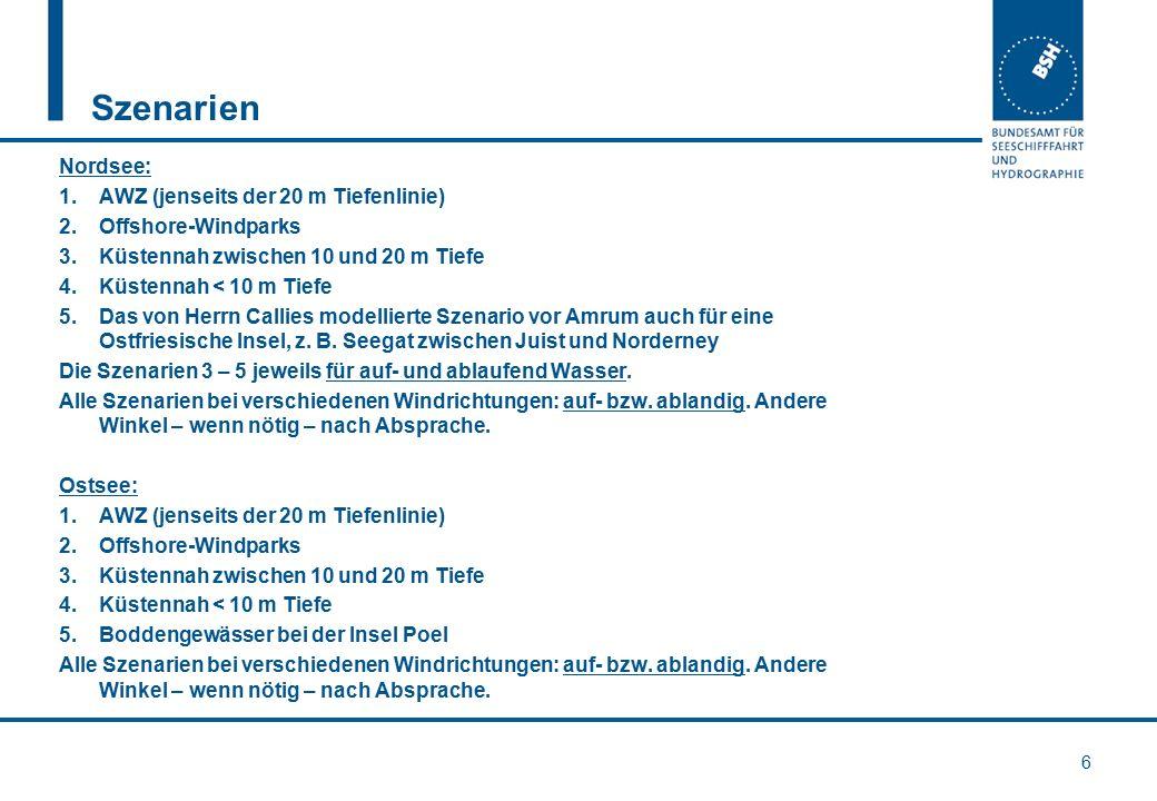 Szenarien Nordsee: 1.AWZ (jenseits der 20 m Tiefenlinie) 2.Offshore-Windparks 3.Küstennah zwischen 10 und 20 m Tiefe 4.Küstennah < 10 m Tiefe 5.Das vo