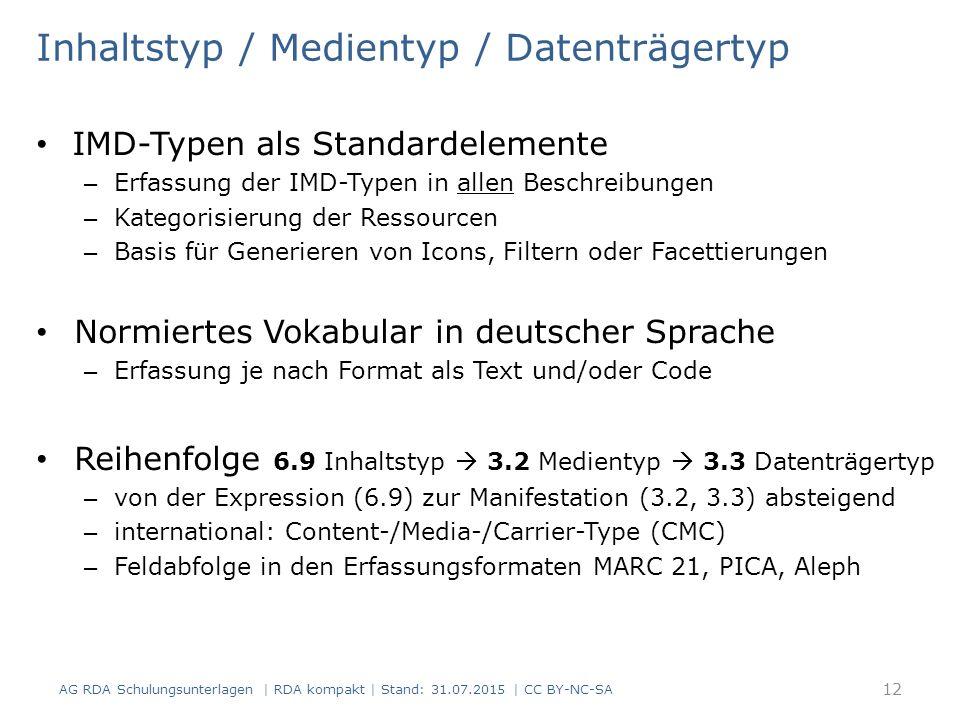 Inhaltstyp / Medientyp / Datenträgertyp IMD-Typen als Standardelemente – Erfassung der IMD-Typen in allen Beschreibungen – Kategorisierung der Ressourcen – Basis für Generieren von Icons, Filtern oder Facettierungen Normiertes Vokabular in deutscher Sprache – Erfassung je nach Format als Text und/oder Code Reihenfolge 6.9 Inhaltstyp  3.2 Medientyp  3.3 Datenträgertyp – von der Expression (6.9) zur Manifestation (3.2, 3.3) absteigend – international: Content-/Media-/Carrier-Type (CMC) – Feldabfolge in den Erfassungsformaten MARC 21, PICA, Aleph 12 AG RDA Schulungsunterlagen | RDA kompakt | Stand: 31.07.2015 | CC BY-NC-SA