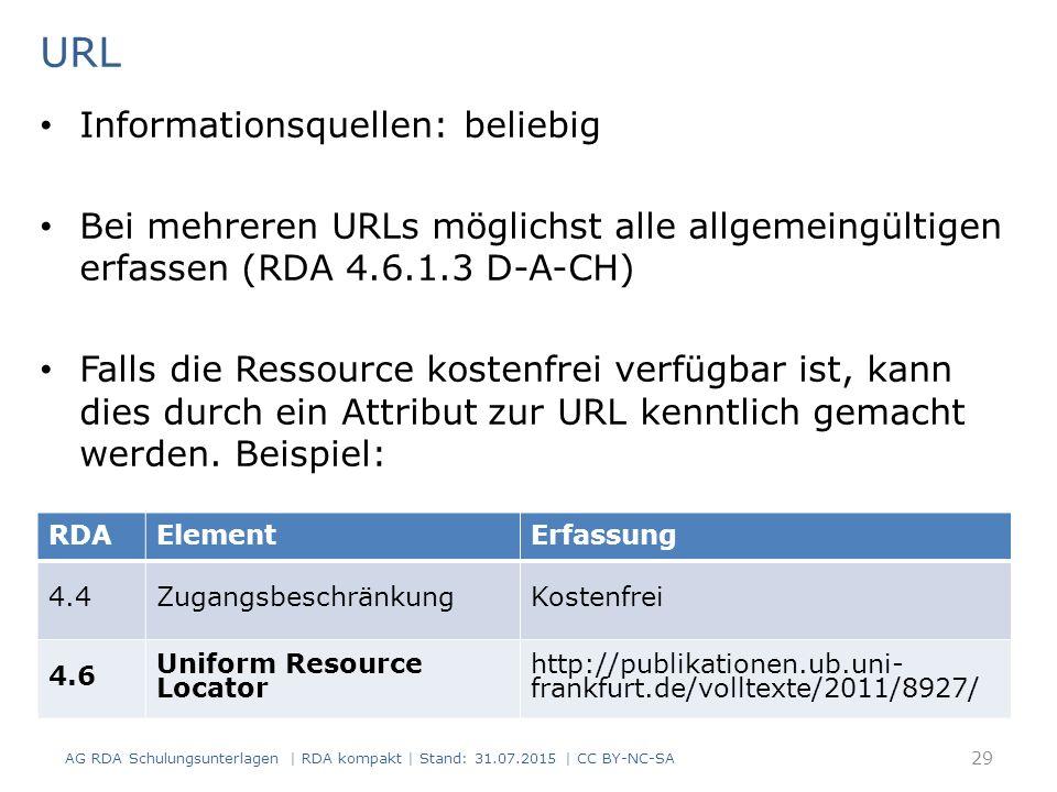 URL Informationsquellen: beliebig Bei mehreren URLs möglichst alle allgemeingültigen erfassen (RDA 4.6.1.3 D-A-CH) Falls die Ressource kostenfrei verfügbar ist, kann dies durch ein Attribut zur URL kenntlich gemacht werden.