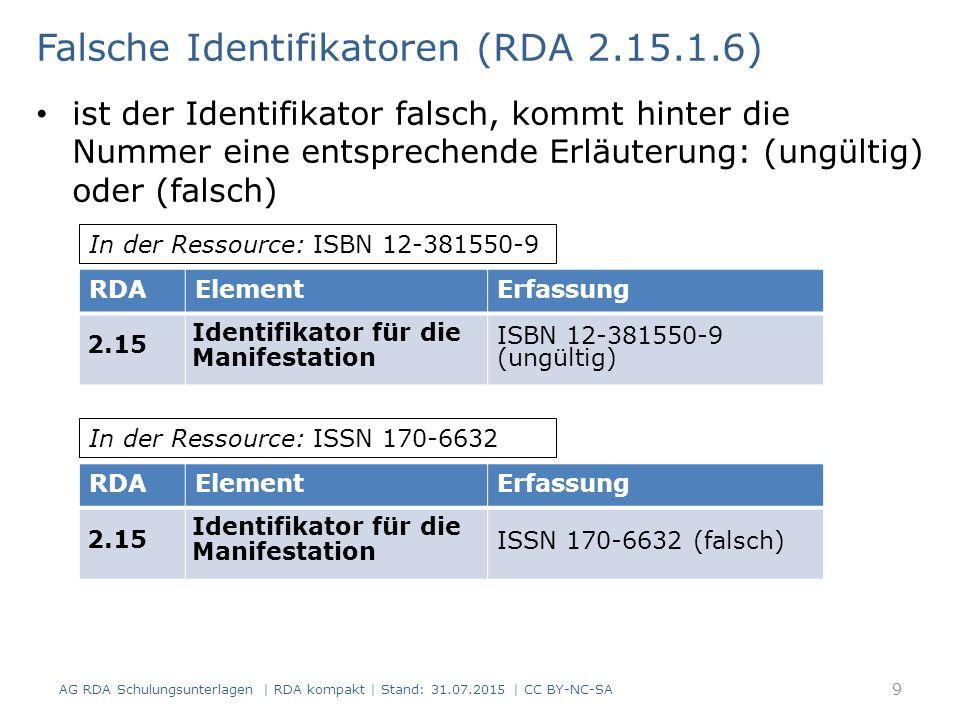 Falsche Identifikatoren (RDA 2.15.1.6) ist der Identifikator falsch, kommt hinter die Nummer eine entsprechende Erläuterung: (ungültig) oder (falsch) RDAElementErfassung 2.15 Identifikator für die Manifestation ISBN 12-381550-9 (ungültig) In der Ressource: ISBN 12-381550-9 RDAElementErfassung 2.15 Identifikator für die Manifestation ISSN 170-6632 (falsch) In der Ressource: ISSN 170-6632 9 AG RDA Schulungsunterlagen | RDA kompakt | Stand: 31.07.2015 | CC BY-NC-SA