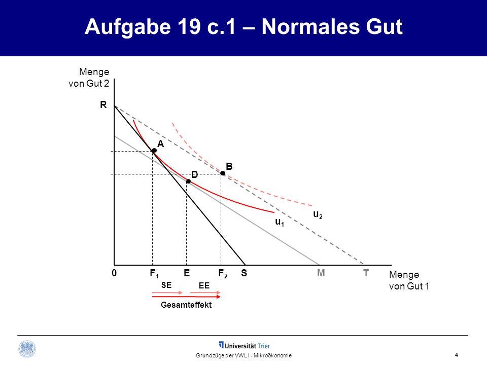 Gesamteffekt EE SE D B Aufgabe 19 c.1 – Normales Gut 4 Grundzüge der VWL I - Mikroökonomie Menge von Gut 1 u1u1 u2u2 F1F1 A EF2F2 ST R Menge von Gut 2 M0