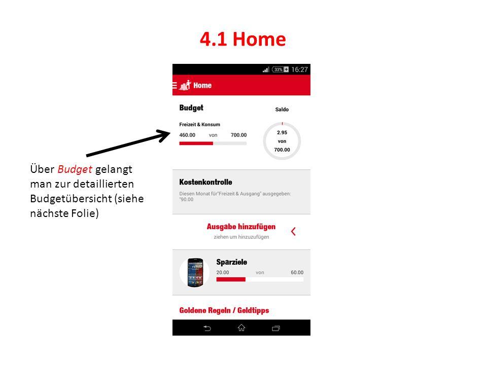 4.1 Home Über Budget gelangt man zur detaillierten Budgetübersicht (siehe nächste Folie)