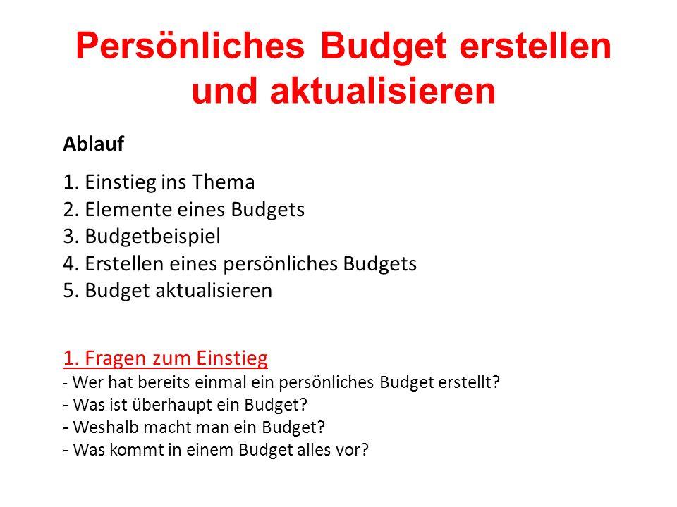 Ablauf 1. Einstieg ins Thema 2. Elemente eines Budgets 3.