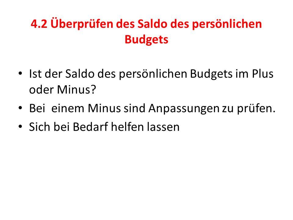 4.2 Überprüfen des Saldo des persönlichen Budgets Ist der Saldo des persönlichen Budgets im Plus oder Minus.