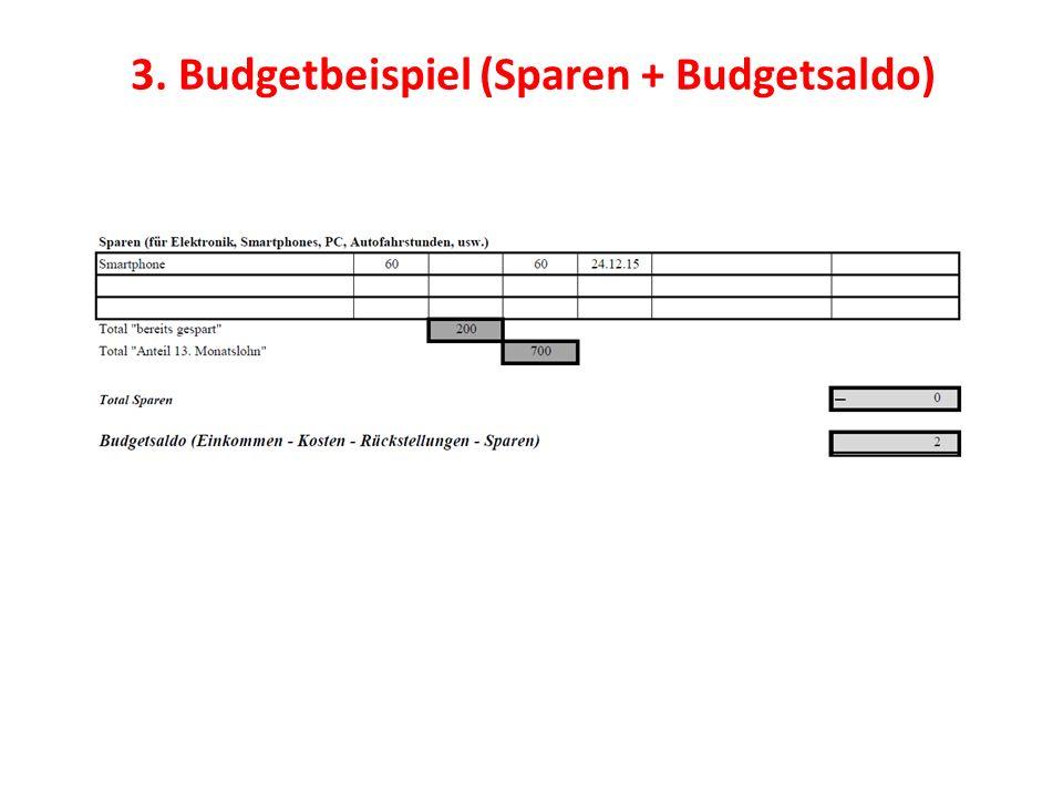 3. Budgetbeispiel (Sparen + Budgetsaldo)