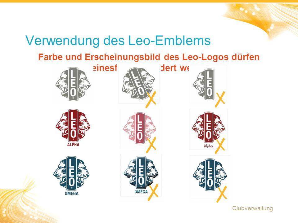 17 Farbe und Erscheinungsbild des Leo-Logos dürfen keinesfalls verändert werden Verwendung des Leo-Emblems Clubverwaltung