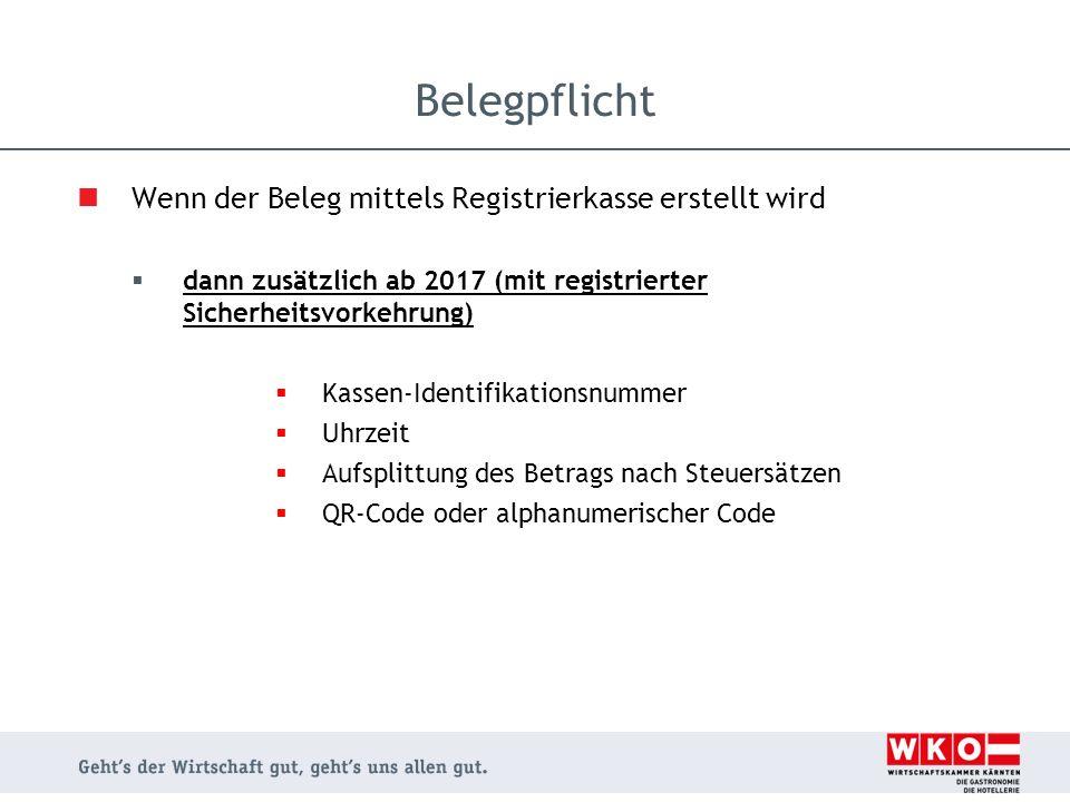 Wenn der Beleg mittels Registrierkasse erstellt wird  dann zusätzlich ab 2017 (mit registrierter Sicherheitsvorkehrung)  Kassen-Identifikationsnumme