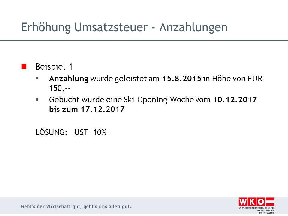 Beispiel 1  Anzahlung wurde geleistet am 15.8.2015 in Höhe von EUR 150,--  Gebucht wurde eine Ski-Opening-Woche vom 10.12.2017 bis zum 17.12.2017 LÖ