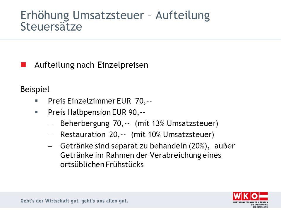 Aufteilung nach Einzelpreisen Beispiel  Preis Einzelzimmer EUR 70,--  Preis Halbpension EUR 90,-- – Beherbergung 70,-- (mit 13% Umsatzsteuer) – Rest
