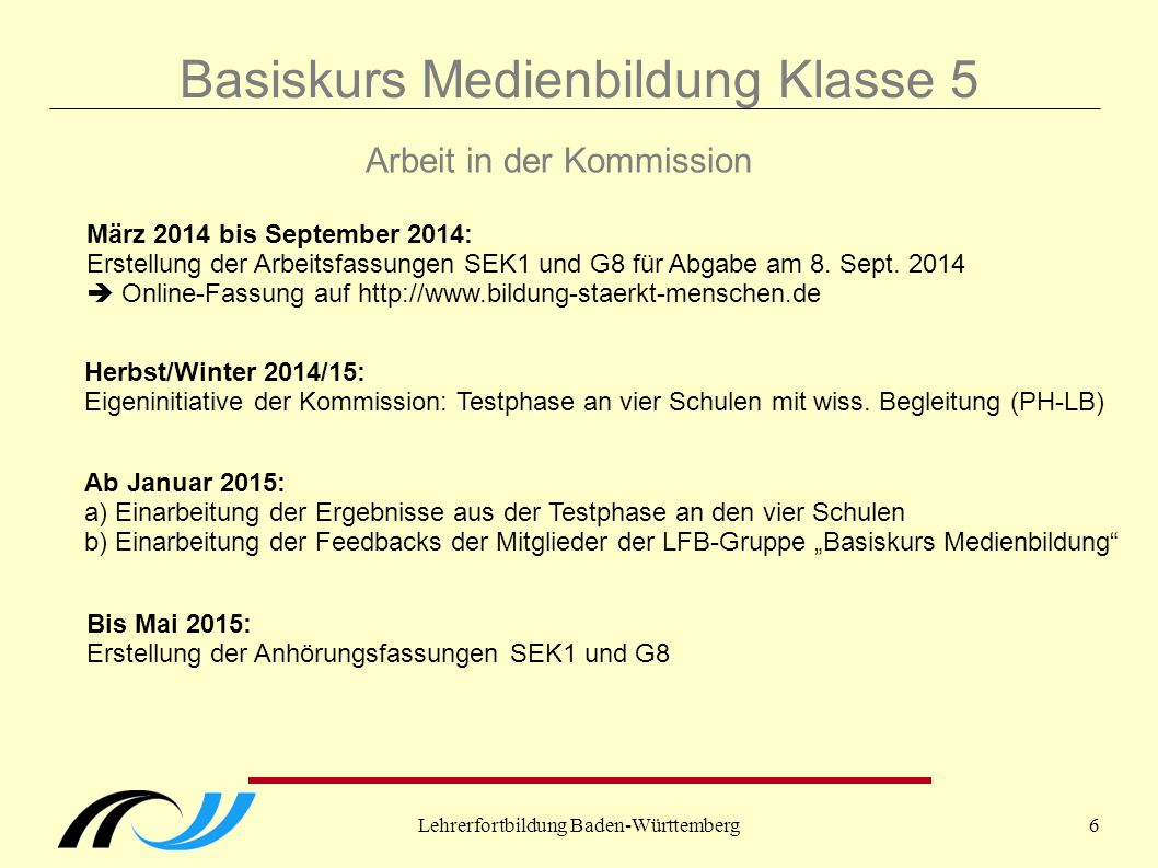 Lehrerfortbildung Baden-Württemberg6 Basiskurs Medienbildung Klasse 5 Arbeit in der Kommission März 2014 bis September 2014: Erstellung der Arbeitsfas