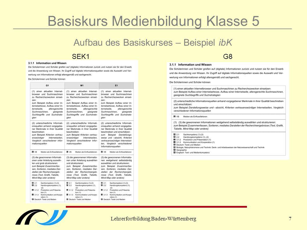 Lehrerfortbildung Baden-Württemberg7 Basiskurs Medienbildung Klasse 5 Aufbau des Basiskurses – Beispiel ibK SEK1G8
