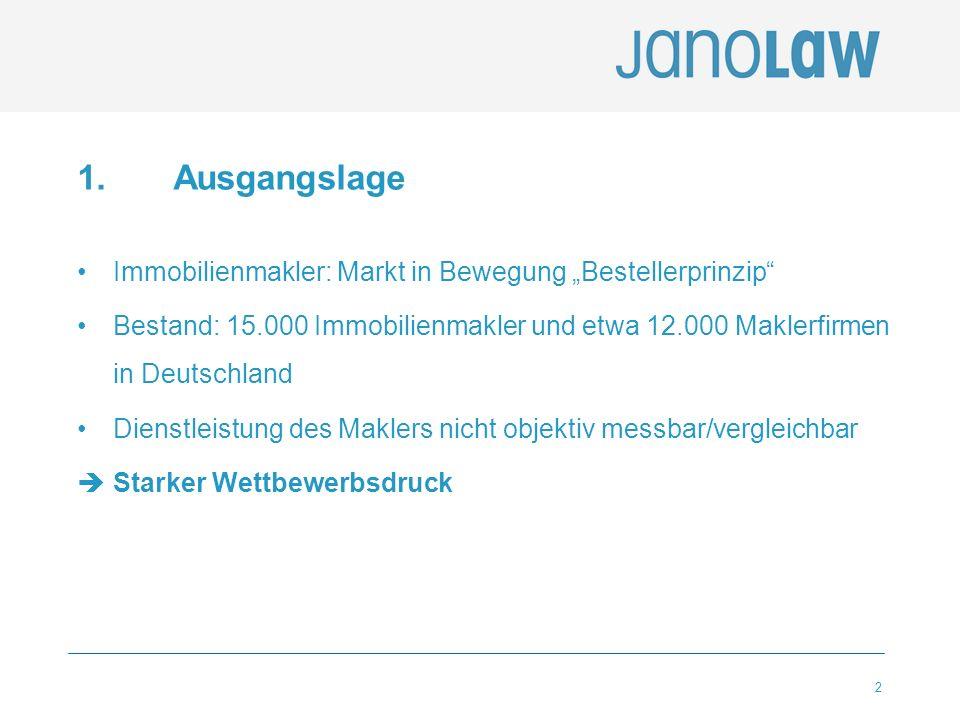 """2 1. Ausgangslage Immobilienmakler: Markt in Bewegung """"Bestellerprinzip"""" Bestand: 15.000 Immobilienmakler und etwa 12.000 Maklerfirmen in Deutschland"""
