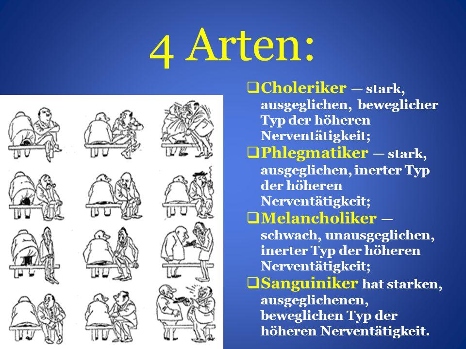 4 Arten:  Choleriker — stark, ausgeglichen, beweglicher Typ der höheren Nerventätigkeit;  Phlegmatiker — stark, ausgeglichen, inerter Typ der höheren Nerventätigkeit;  Melancholiker — schwach, unausgeglichen, inerter Typ der höheren Nerventätigkeit;  Sanguiniker hat starken, ausgeglichenen, beweglichen Typ der höheren Nerventätigkeit.