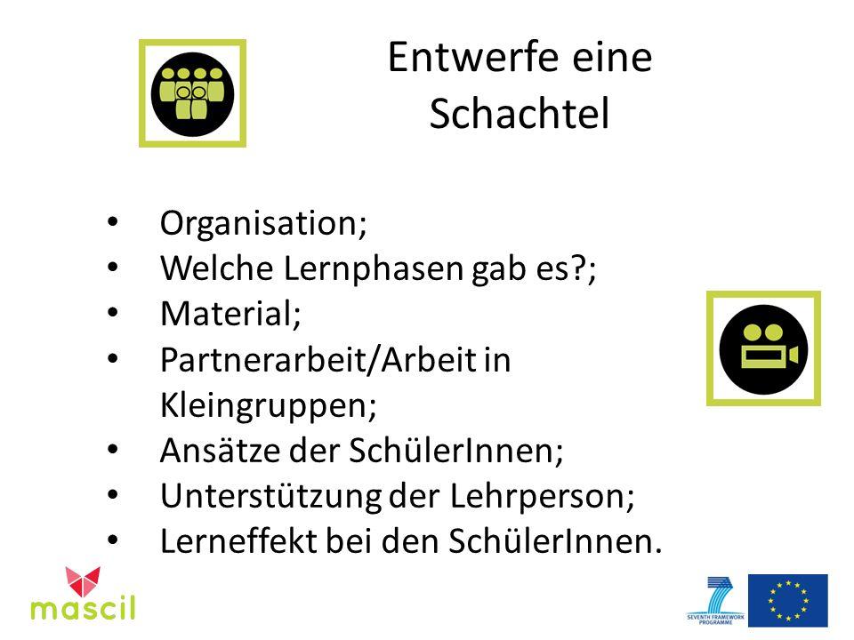 Entwerfe eine Schachtel Organisation; Welche Lernphasen gab es?; Material; Partnerarbeit/Arbeit in Kleingruppen; Ansätze der SchülerInnen; Unterstützung der Lehrperson; Lerneffekt bei den SchülerInnen.
