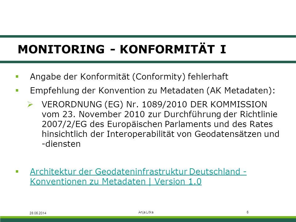 Anja Litka6 MONITORING - KONFORMITÄT I 28.05.2014  Angabe der Konformität (Conformity) fehlerhaft  Empfehlung der Konvention zu Metadaten (AK Metadaten):  VERORDNUNG (EG) Nr.