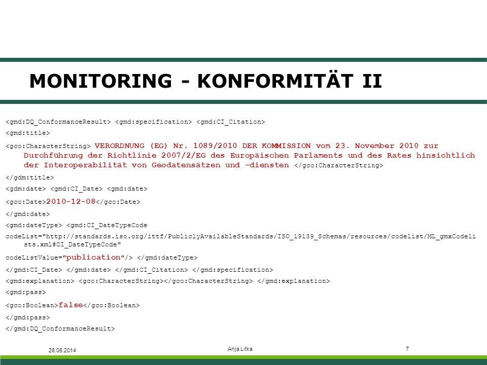 Anja Litka7 MONITORING - KONFORMITÄT II 28.05.2014 VERORDNUNG (EG) Nr.