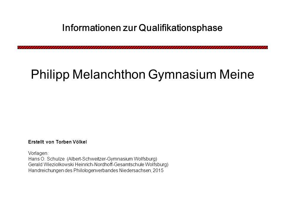 Philipp Melanchthon Gymnasium Meine Informationen zur Qualifikationsphase Erstellt von Torben Völkel Vorlagen: Hans O.