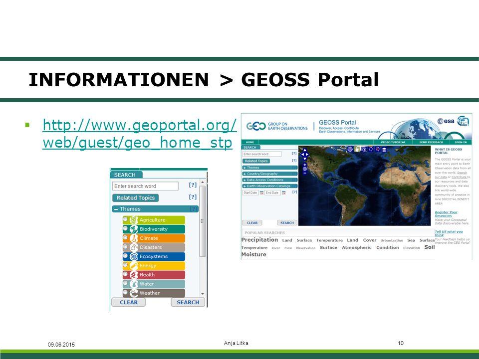 Anja Litka10 INFORMATIONEN > GEOSS Portal 09.06.2015  http://www.geoportal.org/ web/guest/geo_home_stp http://www.geoportal.org/ web/guest/geo_home_s