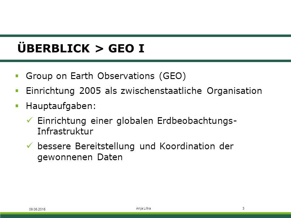 Anja Litka4 ÜBERBLICK > GEO II  Realisierung der Umsetzung der GEO- Koordinationsbestrebungen mit dem Globalen Erdbeobachtungssystem der Systeme (GEOSS) Mehrwert durch eine verbesserte Abstimmung bestehender Systeme in der Erdbeobachtung Schließung von Beobachtungslücken  Nutzung der globalen Erdbeobachtungsinformationen von GEOSS in Deutschland Initiierung einer Arbeitsgruppe durch BMVI: D- GEO (Deutsche GEO) 09.06.2015