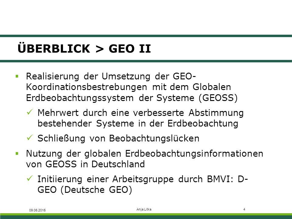 Anja Litka4 ÜBERBLICK > GEO II  Realisierung der Umsetzung der GEO- Koordinationsbestrebungen mit dem Globalen Erdbeobachtungssystem der Systeme (GEO