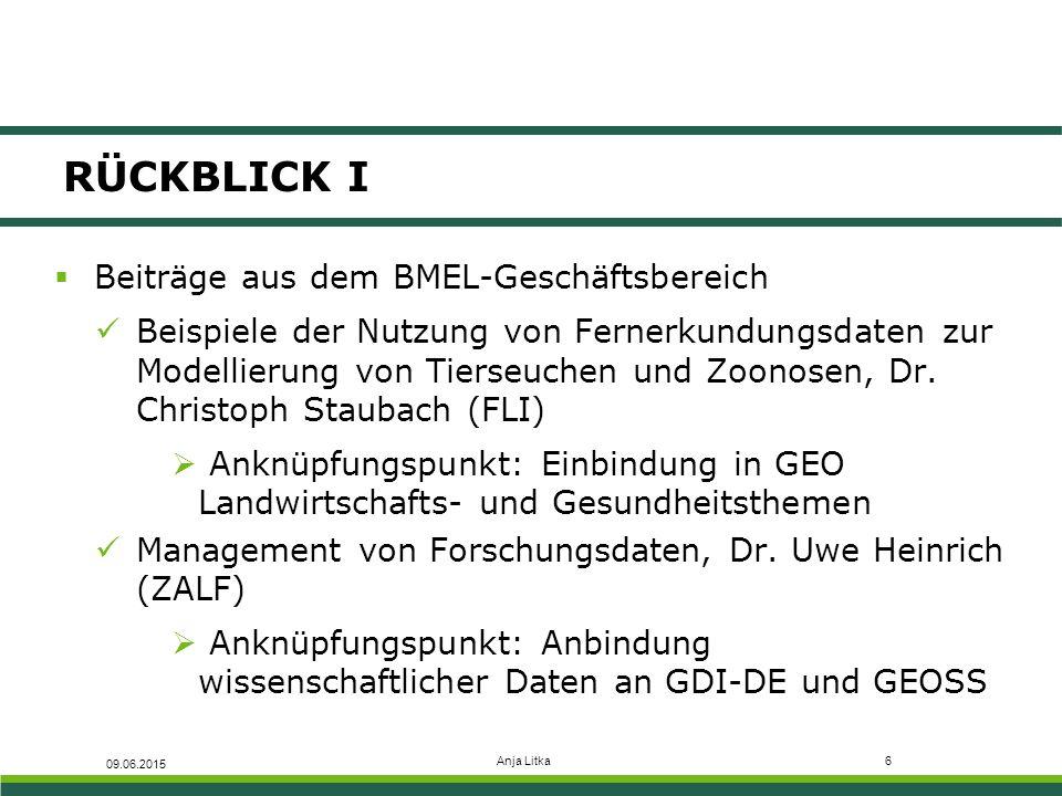 Anja Litka7 RÜCKBLICK II  sowie 4 weitere Beiträge aus der BLE Fachzentrum für Fernerkundung und Geoinformation an der BLE, Sylvia Grabarse  Anknüpfungspunkt: Einbindung der GDI-BMEL in GDI-DE und GEOSS Geoanwendungen zur biologischen Vielfalt in der BLE, Dr.