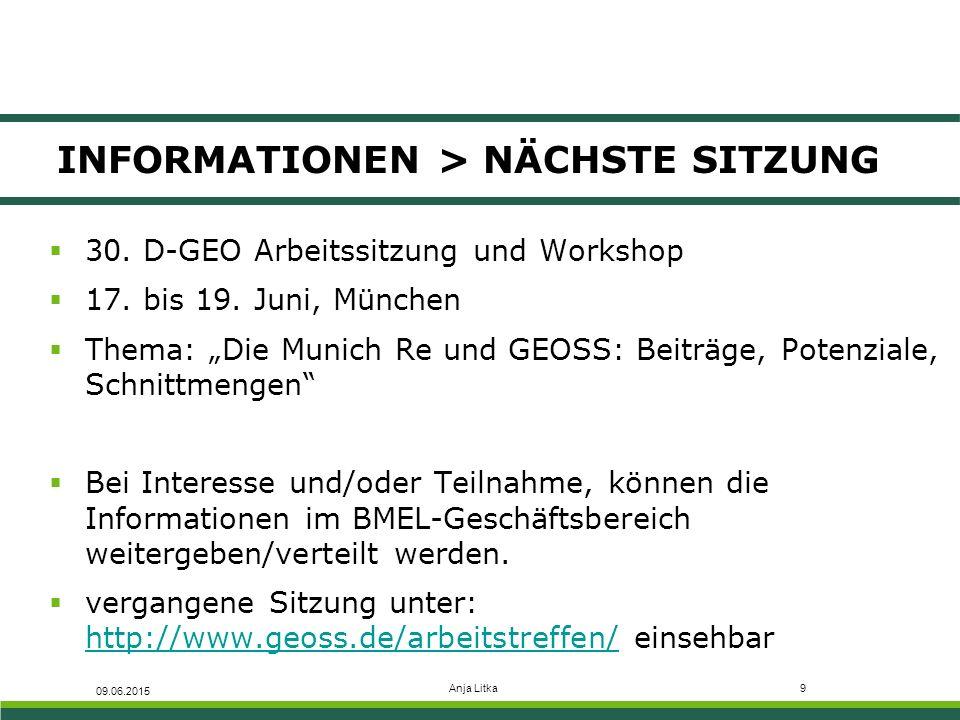 """Anja Litka9 INFORMATIONEN > NÄCHSTE SITZUNG 09.06.2015  30. D-GEO Arbeitssitzung und Workshop  17. bis 19. Juni, München  Thema: """"Die Munich Re und"""