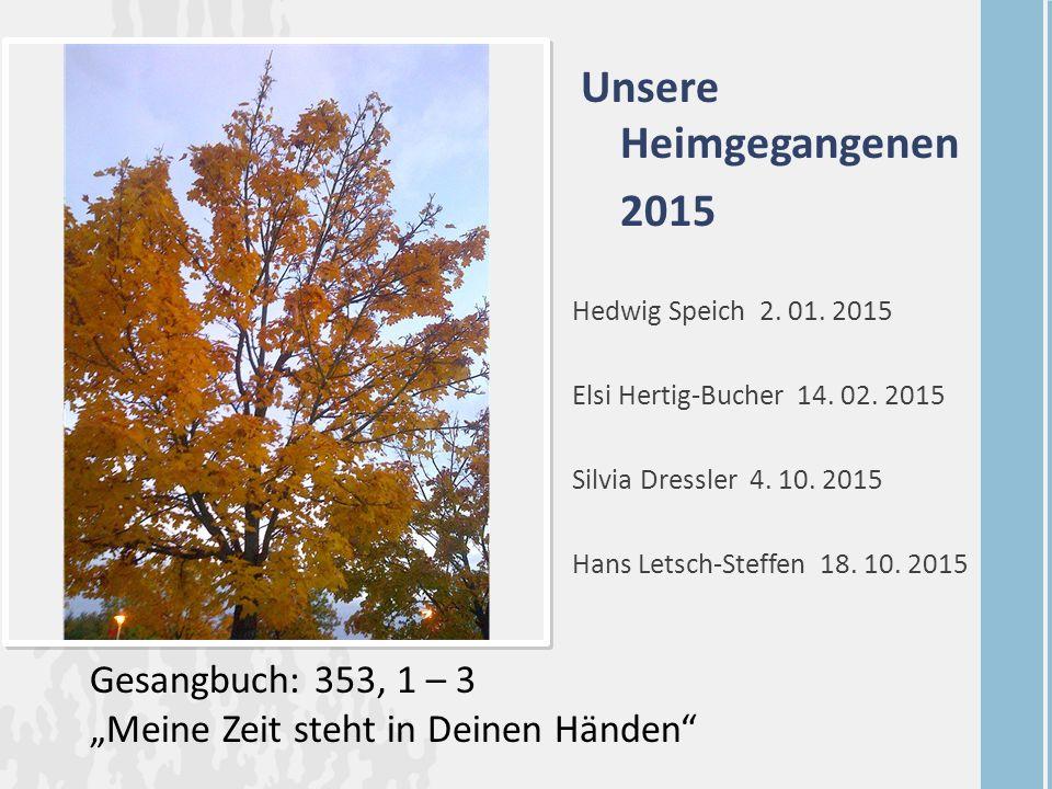 Unsere Heimgegangenen 2015 Hedwig Speich 2. 01. 2015 Elsi Hertig-Bucher 14. 02. 2015 Silvia Dressler 4. 10. 2015 Hans Letsch-Steffen 18. 10. 2015 Gesa