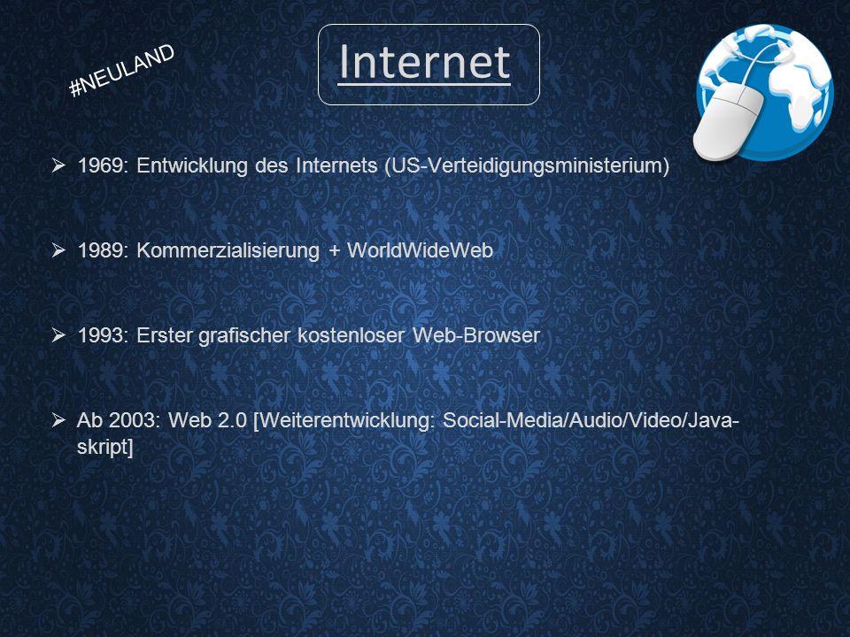 Internet  1969: Entwicklung des Internets (US-Verteidigungsministerium)  1989: Kommerzialisierung + WorldWideWeb  1993: Erster grafischer kostenloser Web-Browser  Ab 2003: Web 2.0 [Weiterentwicklung: Social-Media/Audio/Video/Java- skript] #NEULAND