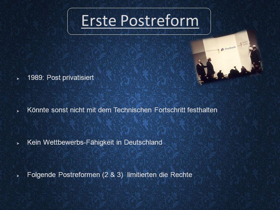 Erste Postreform  1989: Post privatisiert  Könnte sonst nicht mit dem Technischen Fortschritt festhalten  Kein Wettbewerbs-Fähigkeit in Deutschland  Folgende Postreformen (2 & 3) limitierten die Rechte