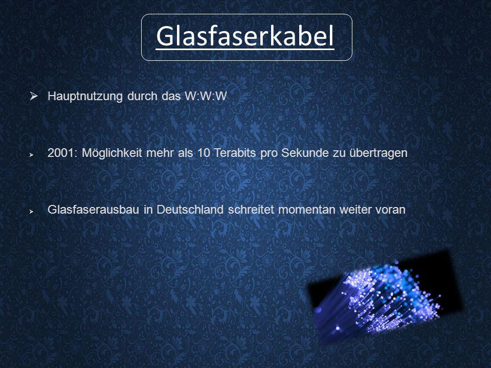 Glasfaserkabel  Hauptnutzung durch das W:W:W  2001: Möglichkeit mehr als 10 Terabits pro Sekunde zu übertragen  Glasfaserausbau in Deutschland schreitet momentan weiter voran