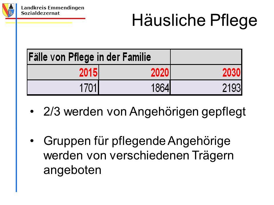 Landkreis Emmendingen Sozialdezernat Häusliche Pflege 2/3 werden von Angehörigen gepflegt Gruppen für pflegende Angehörige werden von verschiedenen Tr