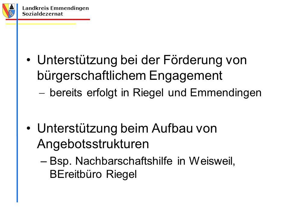 Landkreis Emmendingen Sozialdezernat Unterstützung bei der Förderung von bürgerschaftlichem Engagement  bereits erfolgt in Riegel und Emmendingen Unt
