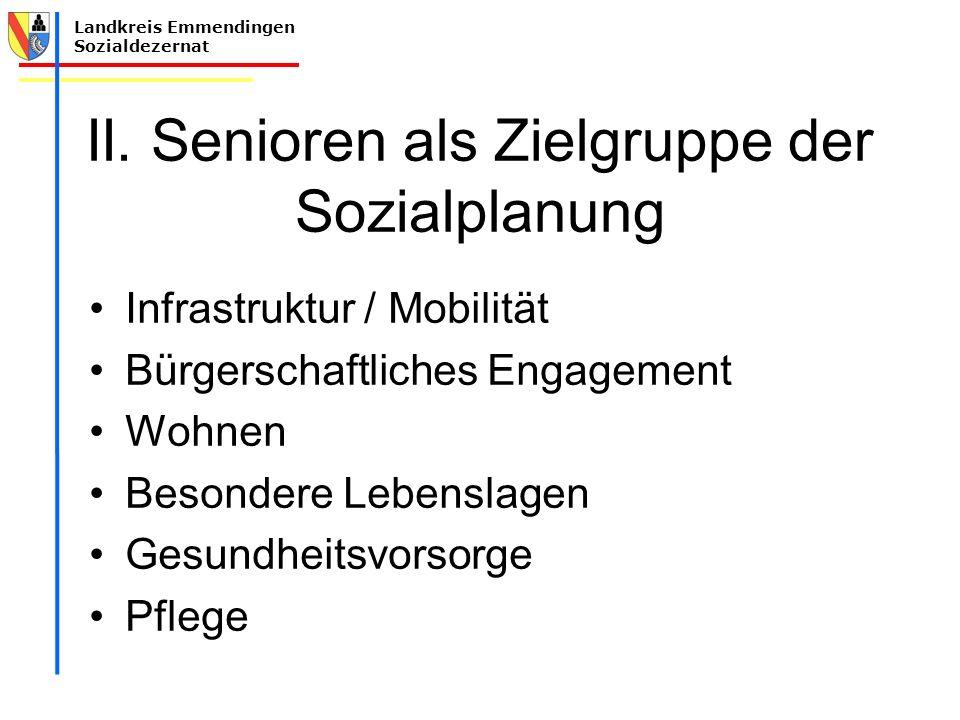 Landkreis Emmendingen Sozialdezernat II. Senioren als Zielgruppe der Sozialplanung Infrastruktur / Mobilität Bürgerschaftliches Engagement Wohnen Beso