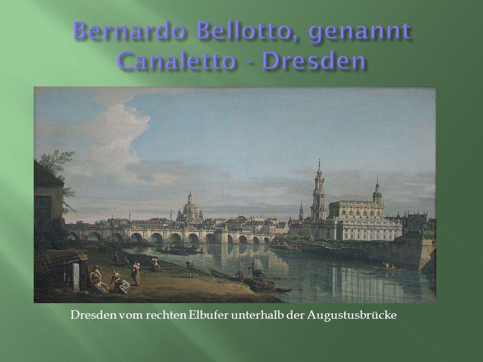 Dresden vom rechten Elbufer unterhalb der Augustusbrücke