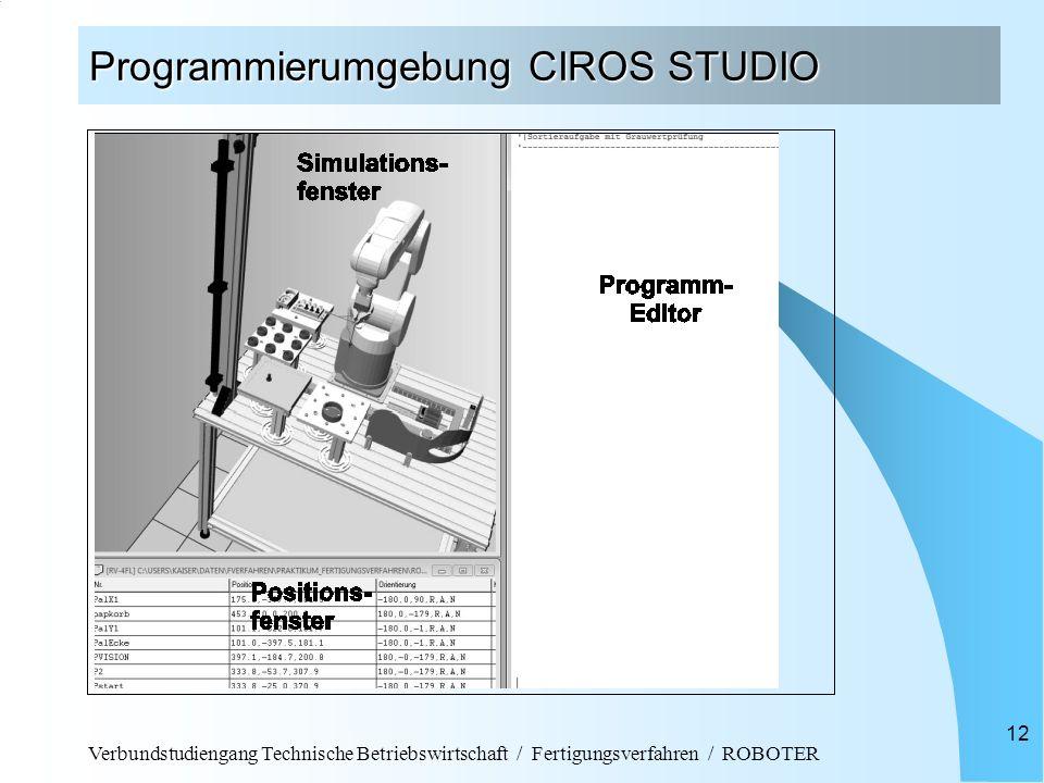 Verbundstudiengang Technische Betriebswirtschaft / Fertigungsverfahren / ROBOTER 12 Programmierumgebung CIROS STUDIO
