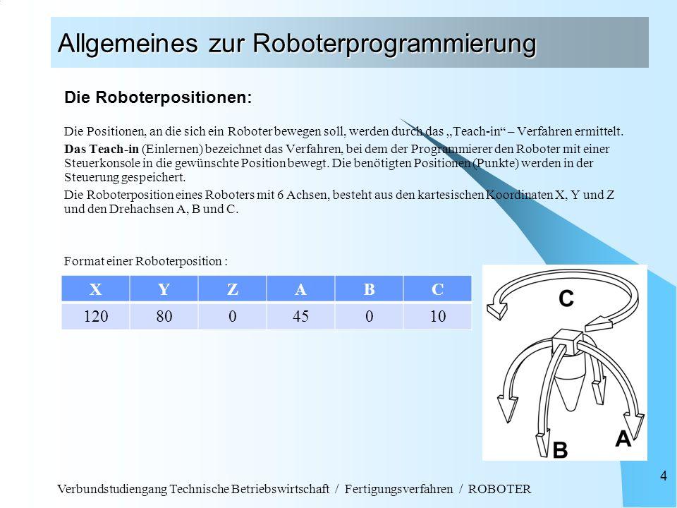 """Verbundstudiengang Technische Betriebswirtschaft / Fertigungsverfahren / ROBOTER 4 Allgemeines zur Roboterprogrammierung Die Roboterpositionen: Die Positionen, an die sich ein Roboter bewegen soll, werden durch das """"Teach-in – Verfahren ermittelt."""