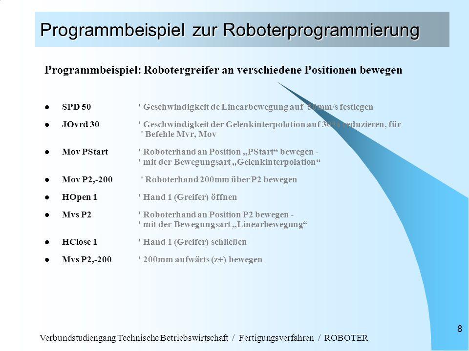 Verbundstudiengang Technische Betriebswirtschaft / Fertigungsverfahren / ROBOTER 8 Programmbeispiel zur Roboterprogrammierung Programmbeispiel: Robote