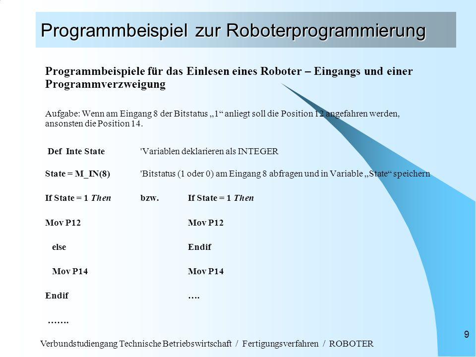 Verbundstudiengang Technische Betriebswirtschaft / Fertigungsverfahren / ROBOTER 9 Programmbeispiel zur Roboterprogrammierung Programmbeispiele für da