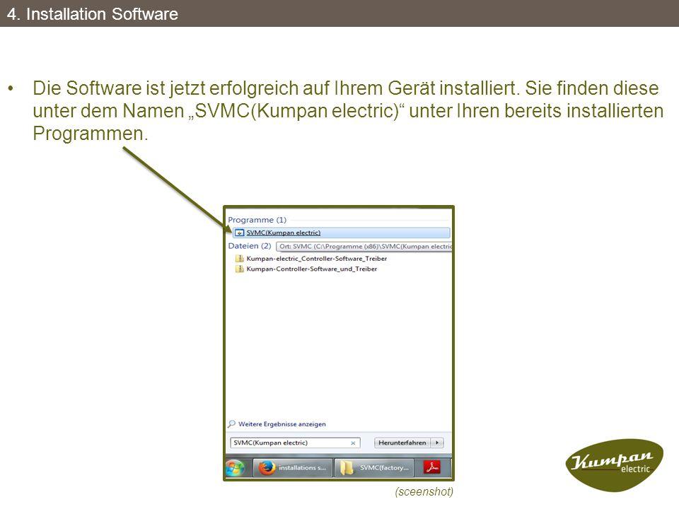 """Die Software ist jetzt erfolgreich auf Ihrem Gerät installiert. Sie finden diese unter dem Namen """"SVMC(Kumpan electric)"""" unter Ihren bereits installie"""