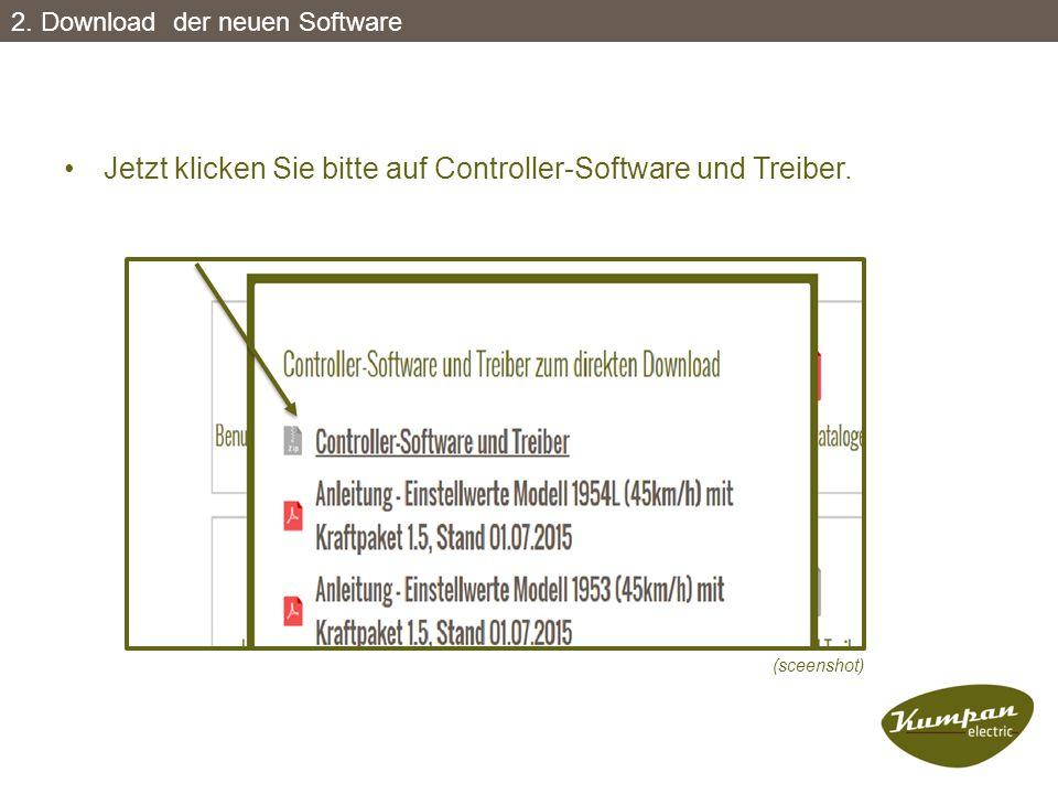 Jetzt klicken Sie bitte auf Controller-Software und Treiber. (sceenshot) 2. Download der neuen Software