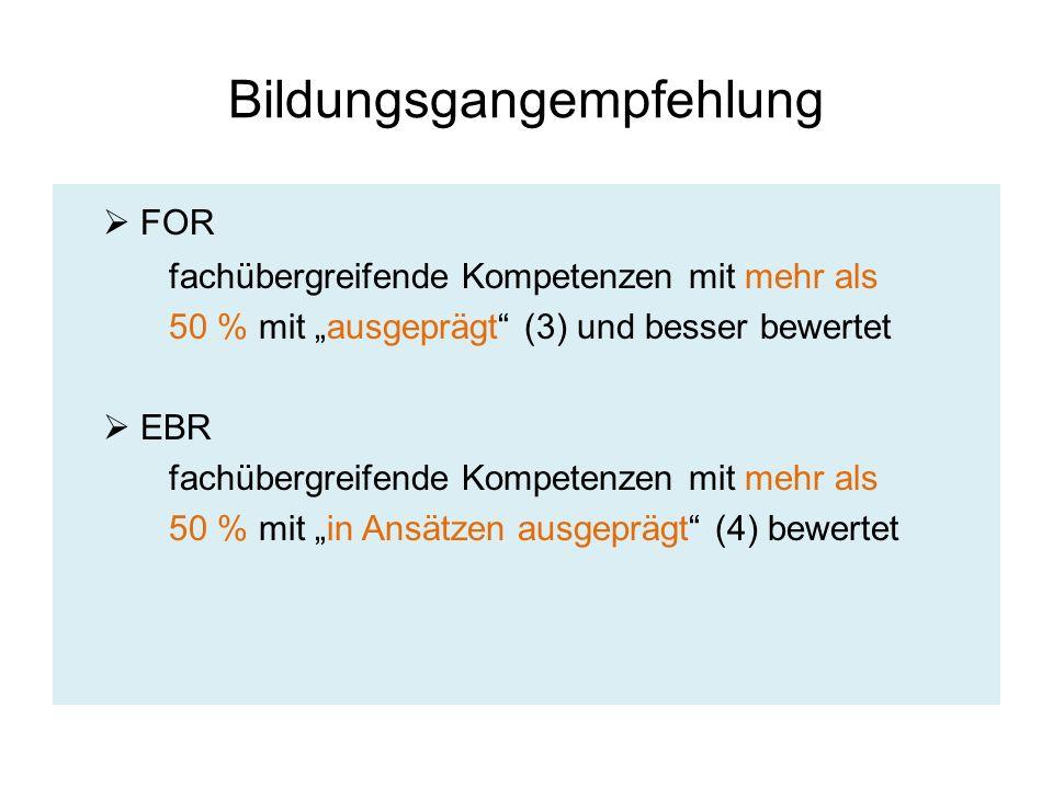 """Bildungsgangempfehlung  FOR fachübergreifende Kompetenzen mit mehr als 50 % mit """"ausgeprägt"""" (3) und besser bewertet  EBR fachübergreifende Kompeten"""