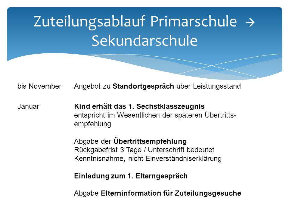 Zuteilungsablauf Primarschule  Sekundarschule bis NovemberAngebot zu Standortgespräch über Leistungsstand Januar Kind erhält das 1.