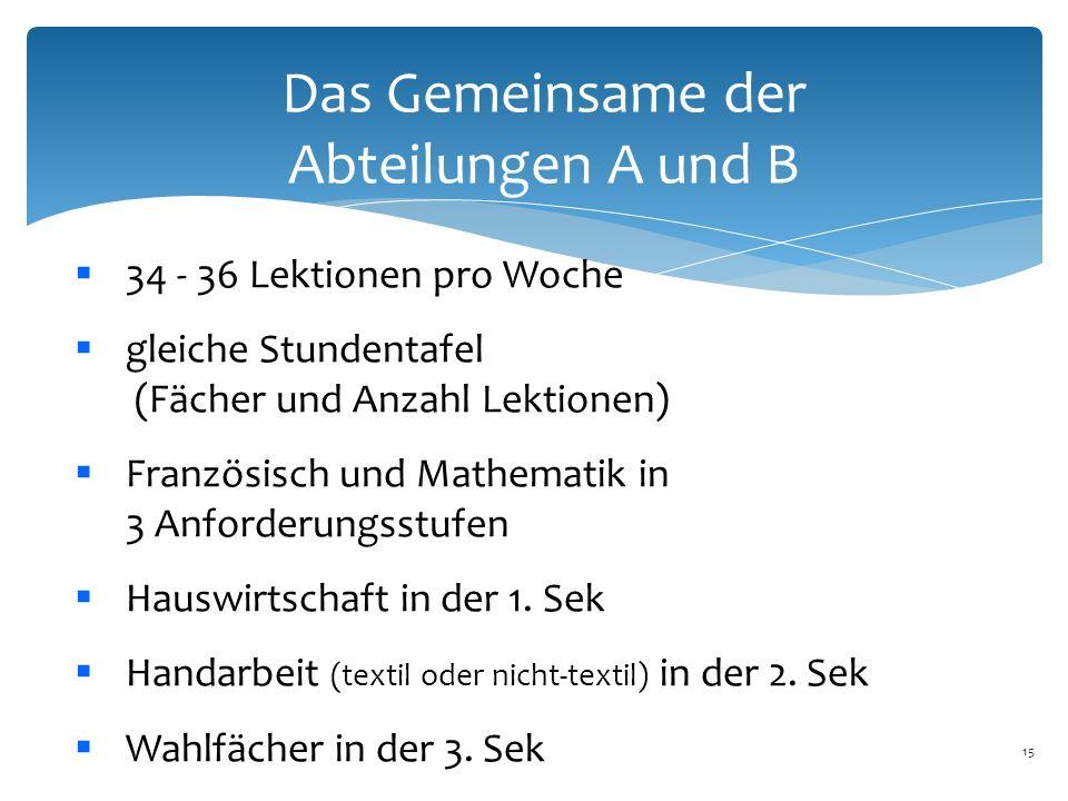 15 Das Gemeinsame der Abteilungen A und B  34 - 36 Lektionen pro Woche  gleiche Stundentafel (Fächer und Anzahl Lektionen)  Französisch und Mathematik in 3 Anforderungsstufen  Hauswirtschaft in der 1.