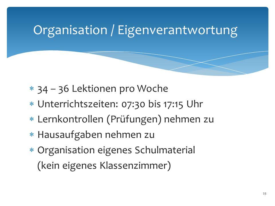 25 Organisation / Eigenverantwortung  34 – 36 Lektionen pro Woche  Unterrichtszeiten: 07:30 bis 17:15 Uhr  Lernkontrollen (Prüfungen) nehmen zu  Hausaufgaben nehmen zu  Organisation eigenes Schulmaterial (kein eigenes Klassenzimmer)