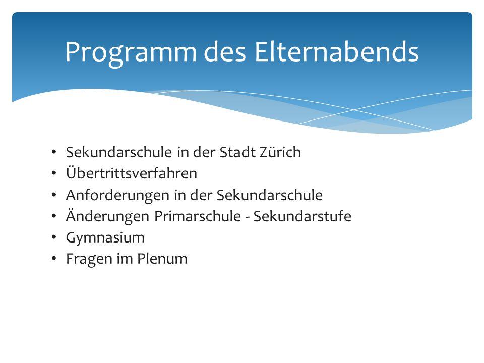 Sekundarschule in der Stadt Zürich Übertrittsverfahren Anforderungen in der Sekundarschule Änderungen Primarschule - Sekundarstufe Gymnasium Fragen im Plenum Programm des Elternabends