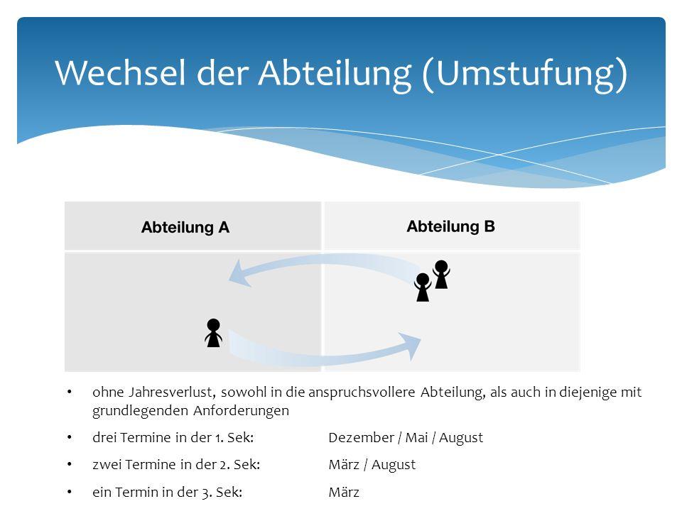 Wechsel der Abteilung (Umstufung) ohne Jahresverlust, sowohl in die anspruchsvollere Abteilung, als auch in diejenige mit grundlegenden Anforderungen