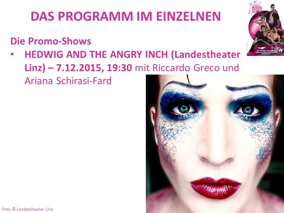DAS PROGRAMM IM EINZELNEN Die Promo-Shows HEDWIG AND THE ANGRY INCH (Landestheater Linz) – 7.12.2015, 19:30 mit Riccardo Greco und Ariana Schirasi-Far