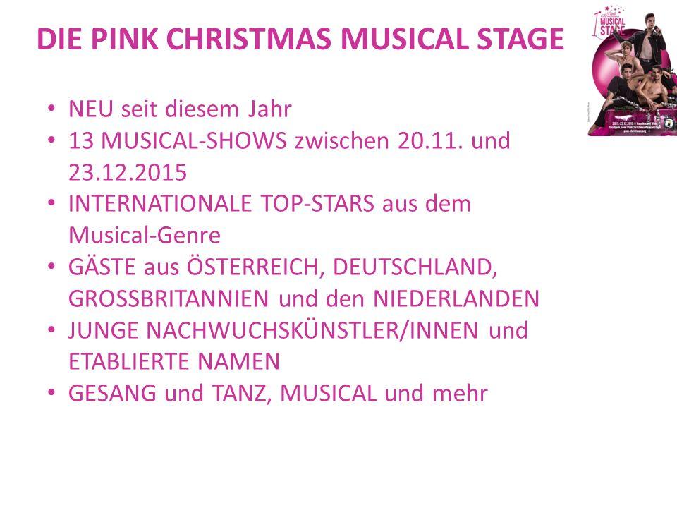 """DAS PROGRAMM IM EINZELNEN Die Pink-Musical-Sundays Pink Musical Sunday #1 – 22.11.2015, 19:00 Host: Rory Six; mit der Cast von """"Blinker das Musical und dem """"Klar Fall Theater Pink Musical Sunday #2 – 29.11.2015, 19:00 Host: Marylin Glamur; mit Barbara Castka & Richard Peter Pink Musical Sunday #3 – 6.12.2015, 19:00 Uhr Host: Andre Haedicke; mit Hisham Morscher & dem Duo LUDIQUE (Amsterdam)"""