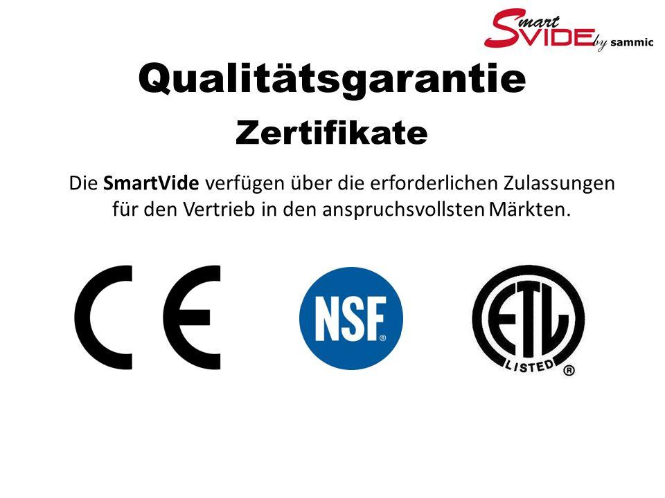 Qualitätsgarantie Zertifikate Die SmartVide verfügen über die erforderlichen Zulassungen für den Vertrieb in den anspruchsvollsten Märkten.