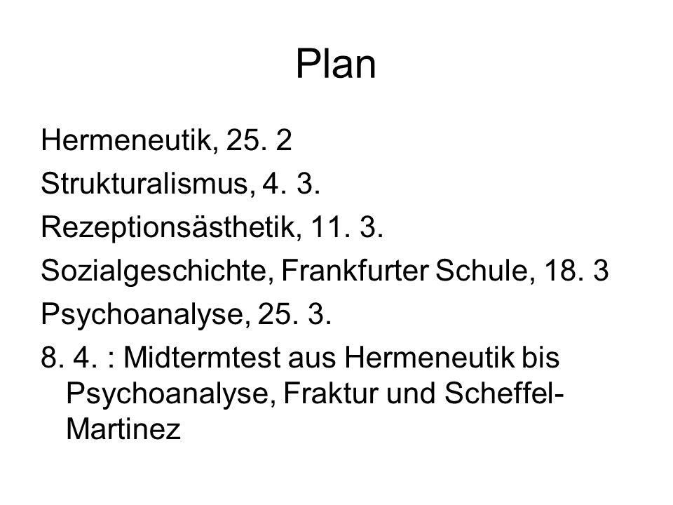 Plan Hermeneutik, 25. 2 Strukturalismus, 4. 3. Rezeptionsästhetik, 11. 3. Sozialgeschichte, Frankfurter Schule, 18. 3 Psychoanalyse, 25. 3. 8. 4. : Mi